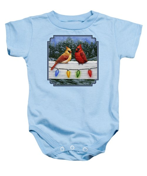 Bird Painting - Christmas Cardinals Baby Onesie by Crista Forest