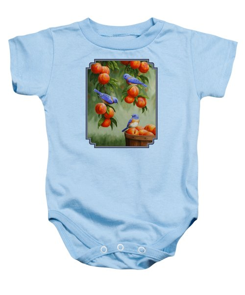 Bird Painting - Bluebirds And Peaches Baby Onesie by Crista Forest