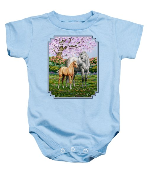 Spring's Gift - Mare And Foal Baby Onesie by Crista Forest