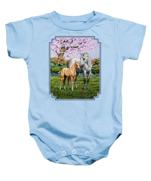 Spring's Gift - Mare And Foal Baby Onesie