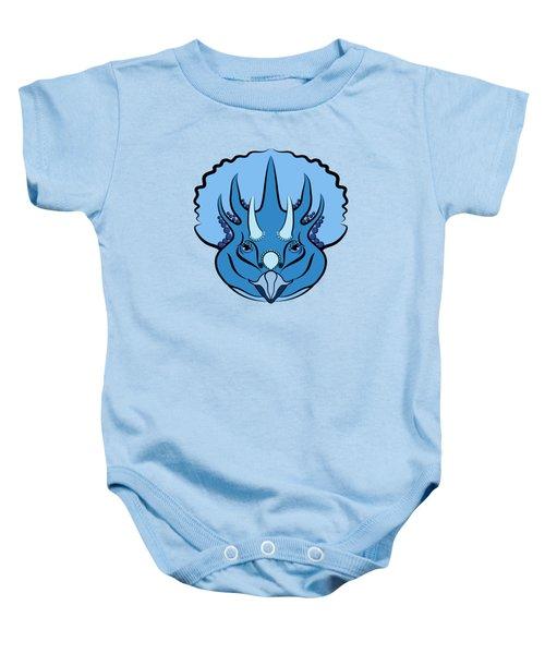 Triceratops Graphic Blue Baby Onesie