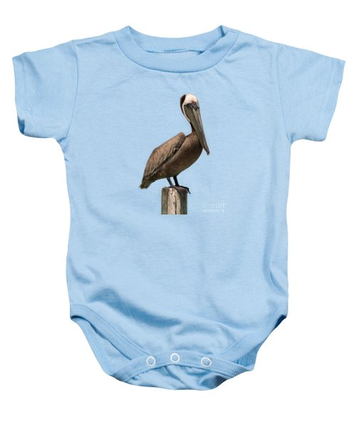 Pelican Perched On A Piling Baby Onesie by John Harmon