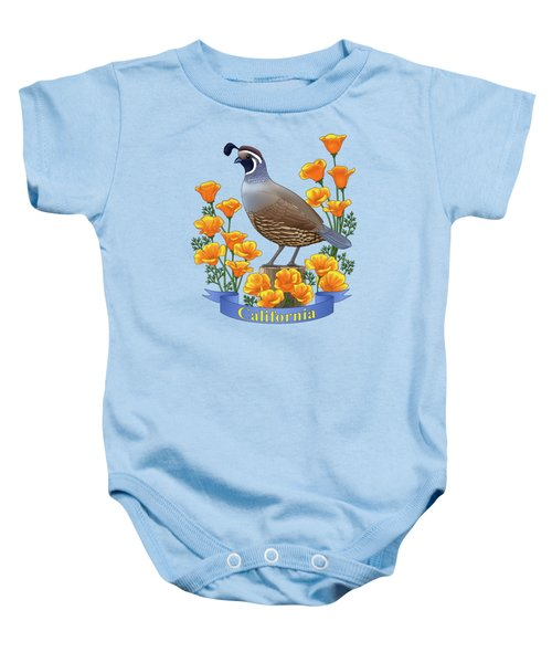 California Quail And Golden Poppies Baby Onesie by Crista Forest