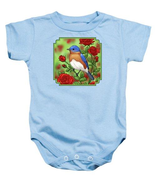 New York State Bluebird And Rose Baby Onesie