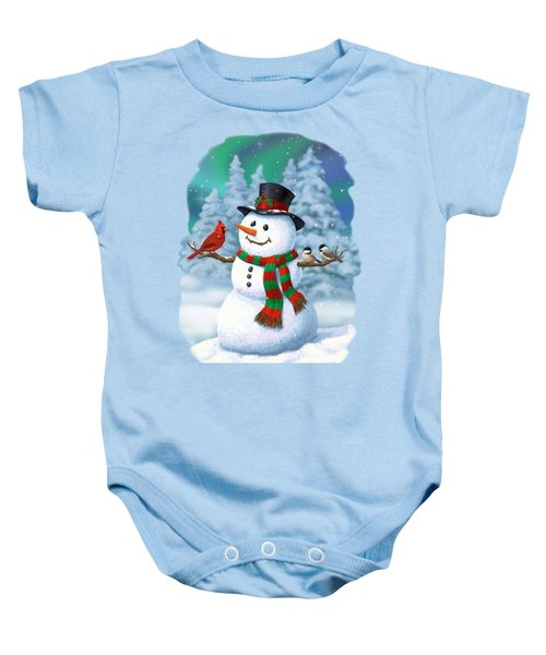 Sharing The Wonder - Christmas Snowman And Birds Baby Onesie by Crista Forest