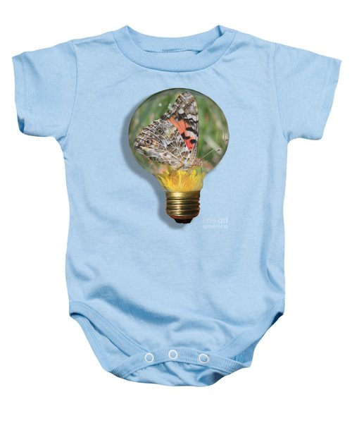 Butterfly In Lightbulb Baby Onesie