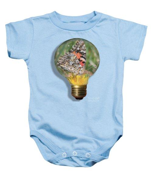 Butterfly In Lightbulb Baby Onesie