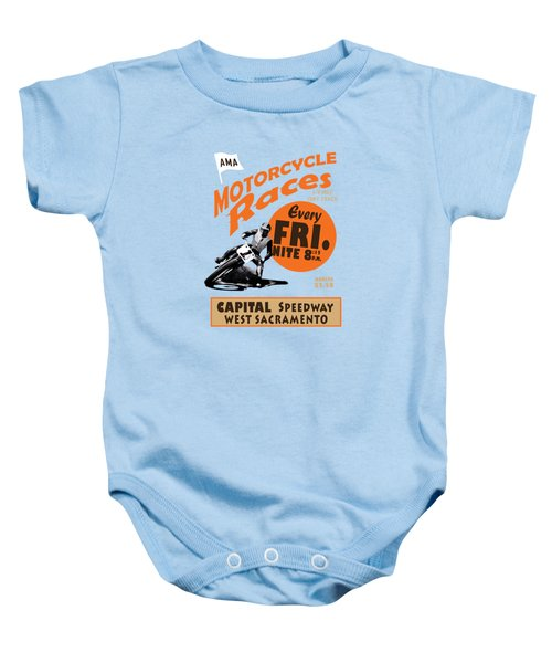 Motorcycle Speedway Races Baby Onesie by Mark Rogan