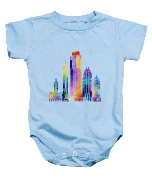 Austin Landmarks Watercolor Poster Baby Onesie