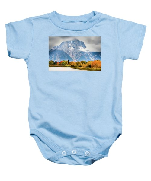 Autumn Storm Over Mount Moran Baby Onesie