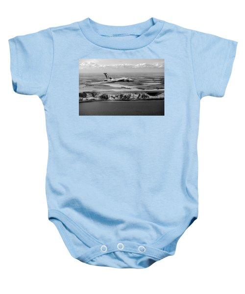 Avro Vulcan Over The White Cliffs Of Dover Black And White Versi Baby Onesie