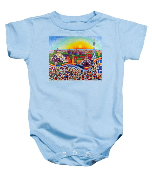 Barcelona Sunrise Colors From Park Guell Modern Impressionism Knife Oil Painting Ana Maria Edulescu Baby Onesie