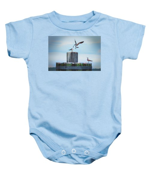 Battle Of The Gulls Baby Onesie