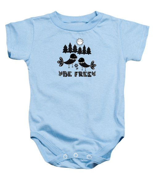Be Free Birds In Cute Scandinavian Style Baby Onesie
