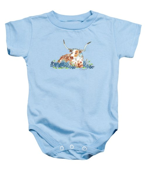 Bessie In The Bluebonnets Watercolor Painting By Kmcelwaine Baby Onesie