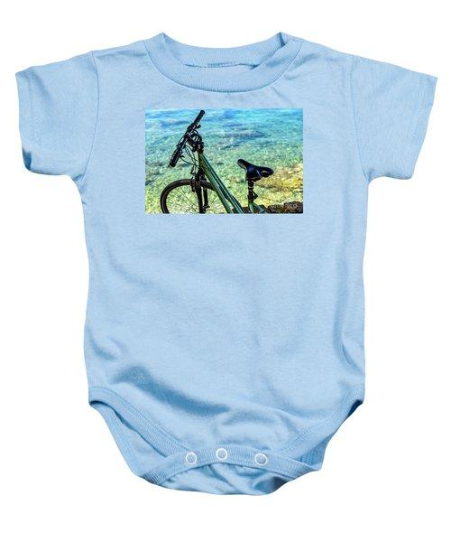 Bicycle By The Adriatic, Rovinj, Istria, Croatia Baby Onesie