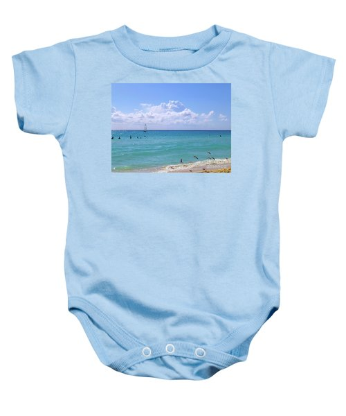 Baby Onesie featuring the photograph Birds On The Beach M4 by Francesca Mackenney