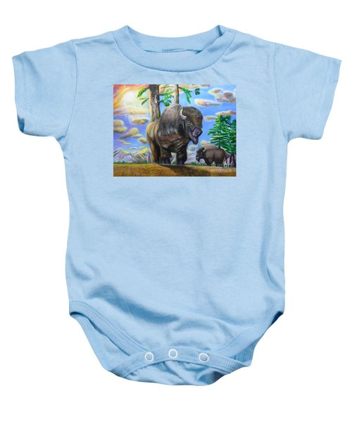 Bison Acrylic Painting Baby Onesie