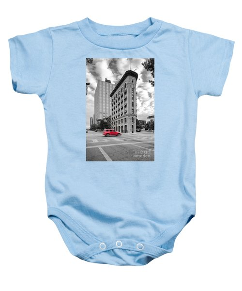 Black And White Photograph Of The Flatiron Building In Downtown Fort Worth - Texas Baby Onesie