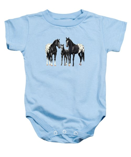 Black Appaloosa Horses In Winter Pasture Baby Onesie