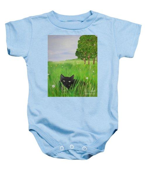 Black Cat In A Meadow Baby Onesie