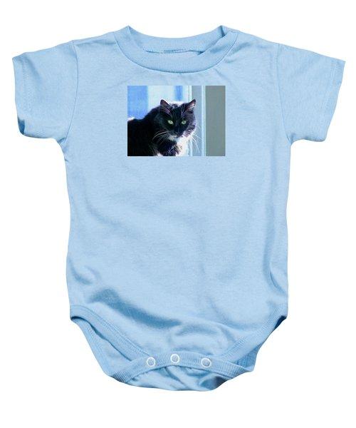 Black Cat In Sun Baby Onesie
