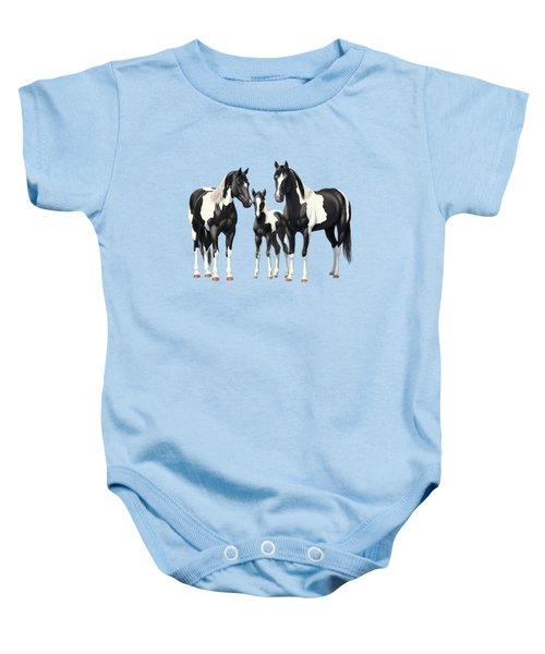 Black Paint Horses In Winter Pasture Baby Onesie