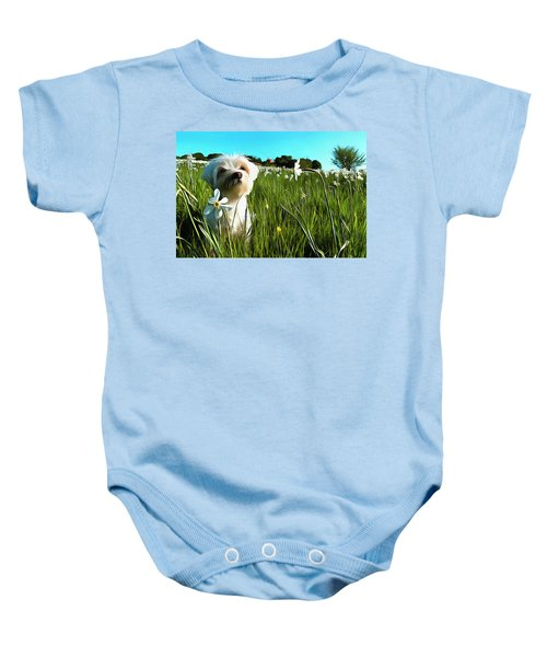 Blooming Daffodils In The Antola Park With Maltese I Paint Baby Onesie