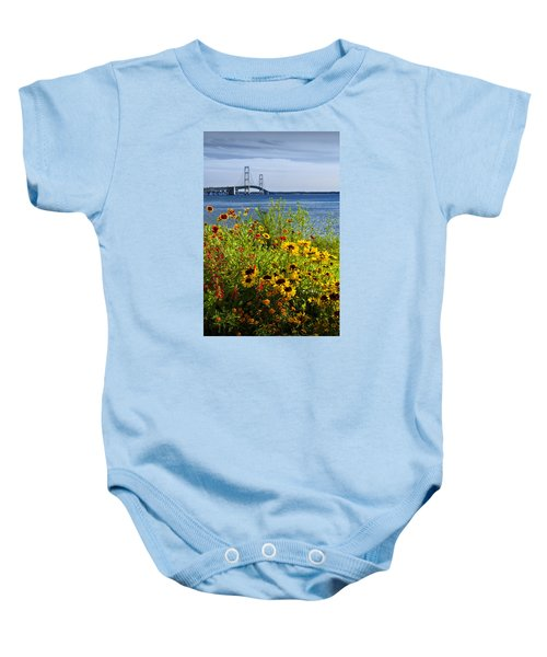 Blooming Flowers By The Bridge At The Straits Of Mackinac Baby Onesie
