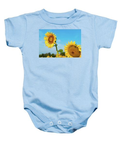 Blooming Sunflower In Blue Sky Baby Onesie