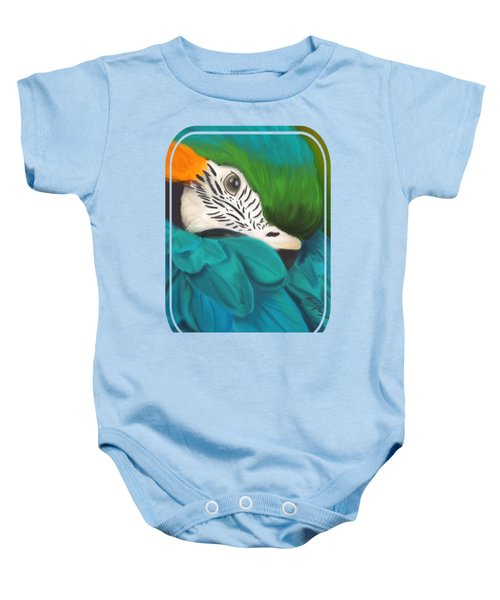 Blue And Gold Macaw Baby Onesie by Becky Herrera