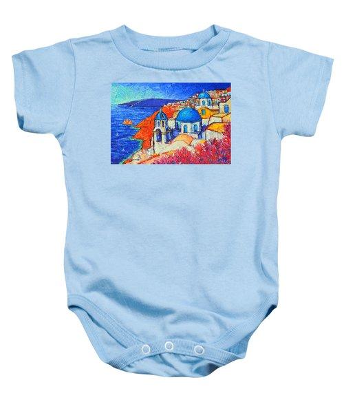 Blue Domes In Oia Santorini Greece Original Impasto Palette Knife Oil Painting By Ana Maria Edulescu Baby Onesie