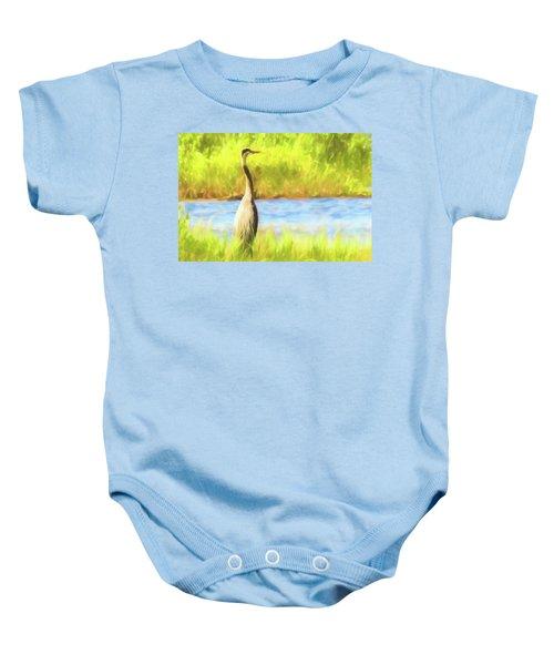 Blue Heron Standing Tall And Alert Baby Onesie