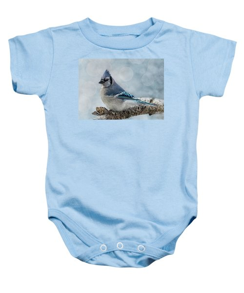 Blue Jay Perch Baby Onesie
