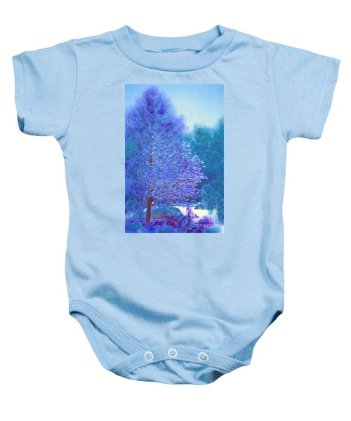 Blue Snow Scene Baby Onesie