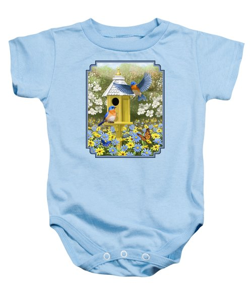 Bluebird Garden Home Baby Onesie by Crista Forest