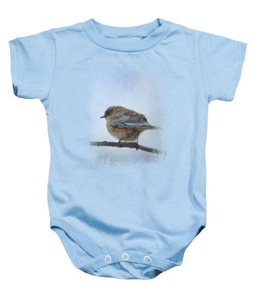 Bluebird In The Snow Baby Onesie