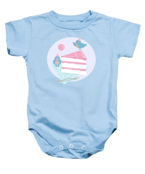 Bluebirds Love Birthday Cake Baby Onesie by Little Bunny Sunshine