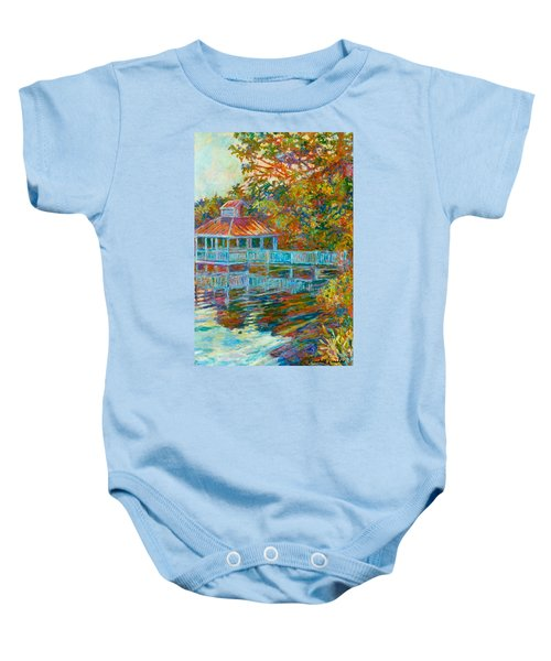 Baby Onesie featuring the painting Boathouse At Mountain Lake by Kendall Kessler