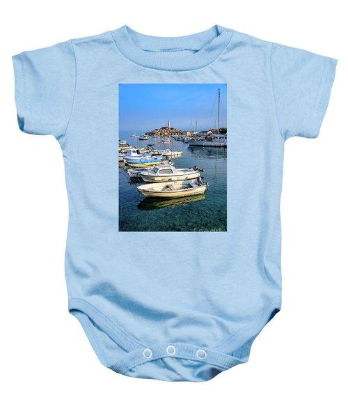 Boats Of The Adriatic, Rovinj, Istria, Croatia  Baby Onesie