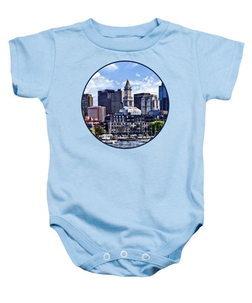 Boston Ma - Skyline With Custom House Tower Baby Onesie