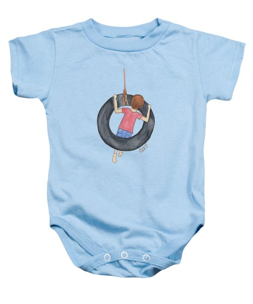 Boy On Swing 1 Baby Onesie