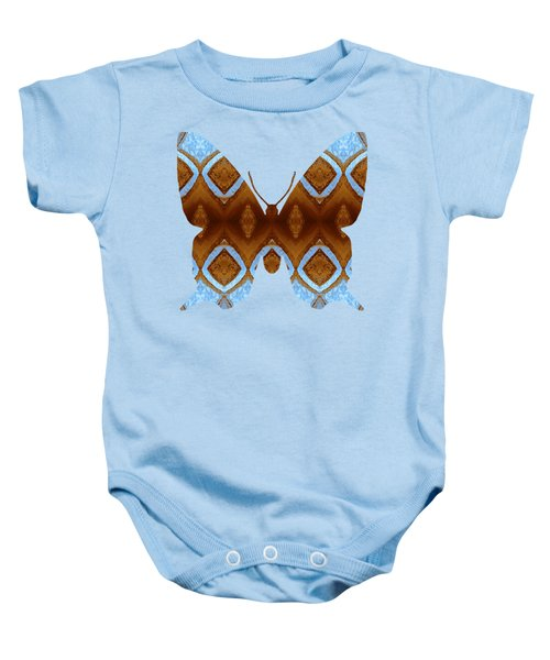 Brown And Blue Butterfly Baby Onesie