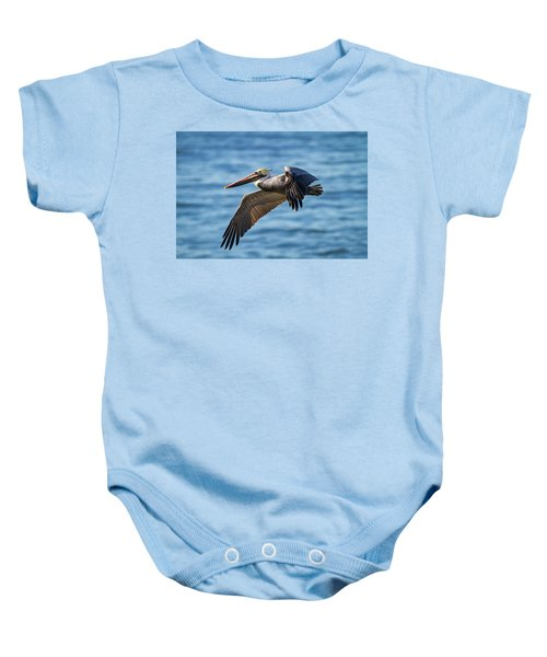 Brown Pelican In Flight Baby Onesie