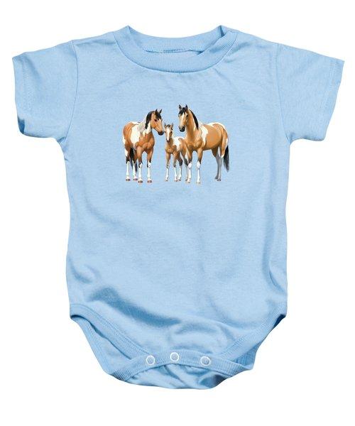 Buckskin Paint Horses In Winter Pasture Baby Onesie