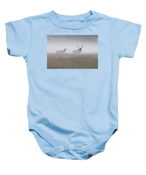 Bull And Cow Elk In Fog - September 30 2016 Baby Onesie