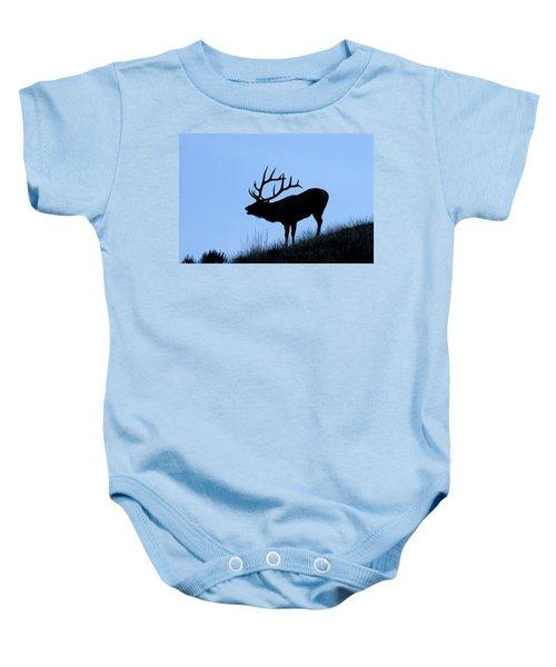 Bull Elk Silhouette Baby Onesie