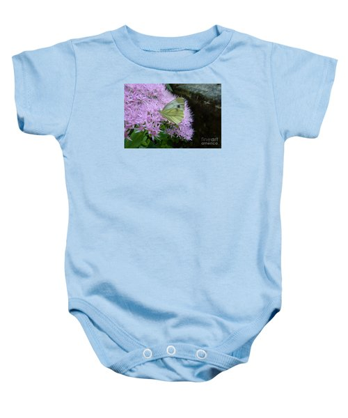 Butterfly On Mauve Flowers Baby Onesie