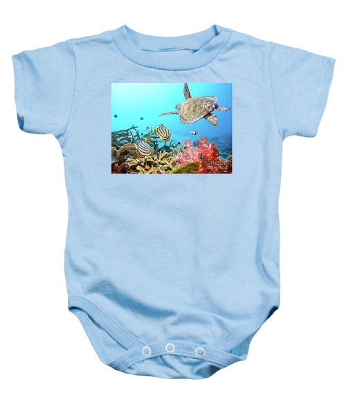 Butterflyfishes And Turtle Baby Onesie