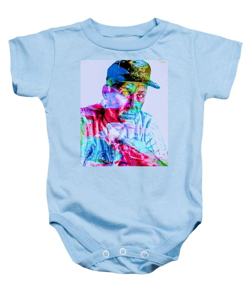 Cal Ripken Jr Baltimore Oriole Painted Digitally Baby Onesie by David Haskett